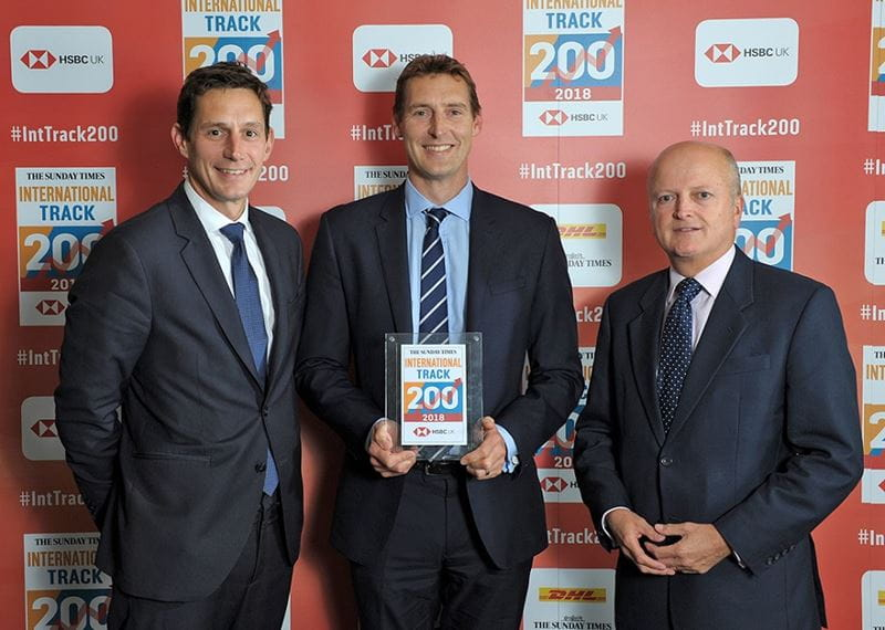 Collinson Group receive Collinson's Sunday Times HSBC International Track 200 certificate.